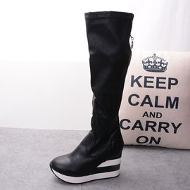 ~自然美~AK~82~ 35碼~百搭 風街拍彈力皮長筒靴 坡跟舒適單靴過膝靴瘦腿長靴女鞋