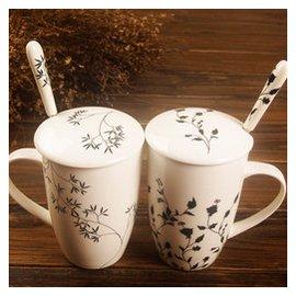 杯子水杯馬克杯帶蓋帶勺歐式情侶辦公陶瓷公 簡約黑白骨瓷包郵
