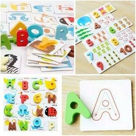 木製益智彩色繪圖卡。26個英文字母A-Z卡片認字卡。1-10數學認知配對教學。字母學習卡。幼稚園教具。兒童早教啟蒙(390元)