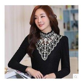 女士小衫2014秋 女裝性感網紗蕾絲高領打底衫長袖t恤紗衣大碼