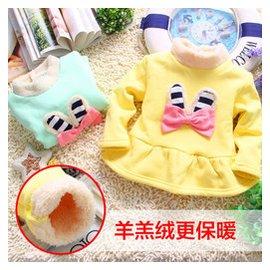 樂果果女童長袖T恤中長款套頭衫秋鼕款女寶寶高領打底衫加絨L202