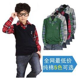 春秋薄款線衫 兒童 套頭衫中大童長袖t恤衫男童毛衣假兩件