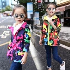 樂町潮流  外套 外套兒童迷彩加厚沖鋒衣小女孩上衣寶寶風衣