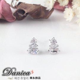 耳環  專櫃CZ鑽氣質甜美閃亮 微鑲百搭幾何公主水晶耳環 Y1211 價 Danica 韓