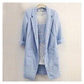 2015 修身7分袖棉麻西裝外套中長款亞麻 透氣女裝潮14