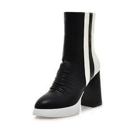 一生盼雅 大牌風粗跟尖頭女靴子 拼色超高跟機車短靴潮流馬丁靴女21718732 黑白色 3