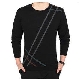秋鼕男裝套頭針織衫青年男士圓領毛衣羊毛衫純色加絨加