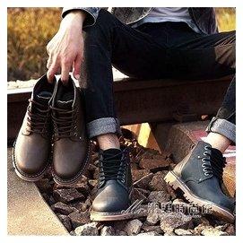 ~ 馬丁靴男加絨英倫男棉鞋雪地靴高筒馬丁鞋男靴子軍靴沙漠短靴 潮男 館igoigo
