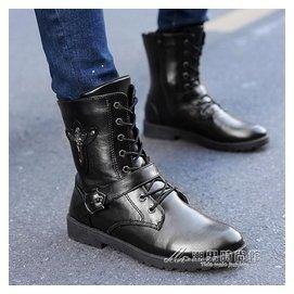 ~秋 高筒馬丁靴潮流男靴子英倫風中筒馬靴軍靴短靴皮靴長靴 潮男 館igo