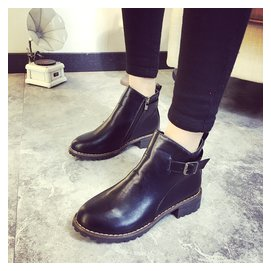 @ 中跟短靴粗跟圓頭馬丁靴短筒英倫女靴子潮女鞋側拉練踝靴  #12310 小桃美衣  #1