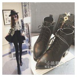~短靴女式粗跟馬丁靴英倫尖頭單鞋高跟及踝靴子短筒踝靴  #12310 小桃美衣  #123