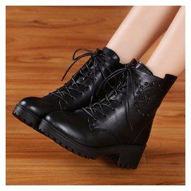 ~馬丁靴女鞋子英倫短靴粗跟雪地棉靴棉鞋學生潮女靴子  #12310 小桃美衣  #1231