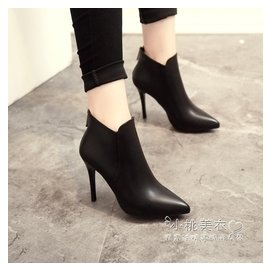 ~ 風高跟短靴女細跟尖頭女靴短筒靴及踝靴性感馬丁靴潮  ^#12310 小桃美衣  ^#1