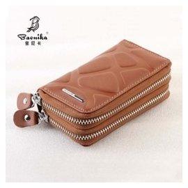 寶尼卡汽車鑰匙包男女式韓國多 雙層拉鏈鑰匙包真皮卡片零錢包