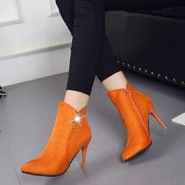 短靴歐洲站性感尖頭 裸靴女細跟馬丁靴高跟鞋粉色禮服伴娘及踝短靴女裝短靴裸靴女神最愛