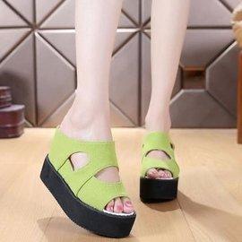 谷谷小屋春 鬆糕底內增高涼鞋厚底平跟超高跟鏤空魚嘴拖鞋女鞋