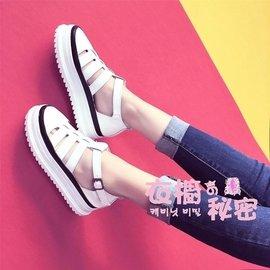 谷谷小屋  鞋鬆糕鞋子鏤空小白鞋女包頭涼鞋學生女鞋潮涼鞋