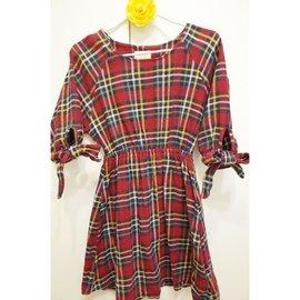 Pandora s Armoire 正韓貨 || 英格蘭紅色格紋蝴蝶袖洋裝