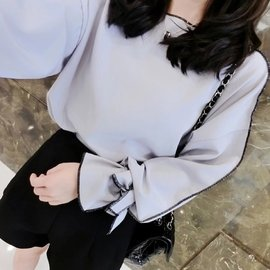 #x1f48b 艷 #x1f451 淑女氣質蝴蝶結寬鬆素色雪紡七分袖長袖上衣