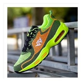 春 飛線針織青少年氣墊 鞋男透氣學生大童跑步鞋38碼情侶鞋 籃球鞋 慢跑步鞋