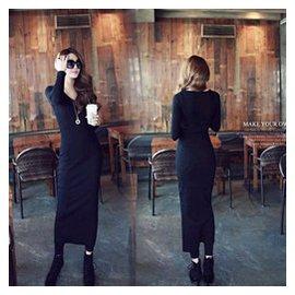 BO  2014秋裝 女裝長袖V領螺紋針織純棉修身 無敵顯瘦長裙 連衣裙 有大