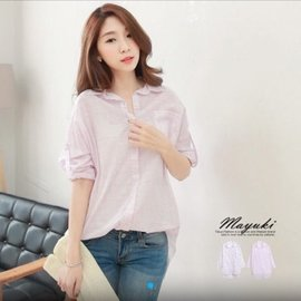 東京著衣 塗鴉 格紋 長版 襯衫 粉色