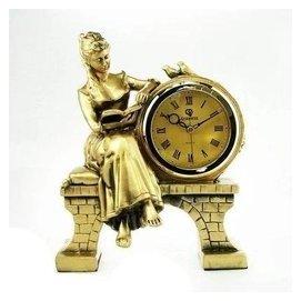新古典家居女神歐式座鐘錶淑女閱讀座鐘臺鐘擺件