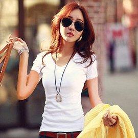 修身女t恤短袖夏常規白色純棉v領體恤 純簡約女士打底衫小衫