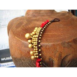 L56泰國銅鈴手鏈 腳鏈 女 蠟繩編織民族風紅珊瑚 多層