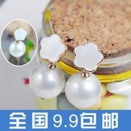 E225 韓國高檔耳飾 天然貝殼五瓣花珍珠吊墜耳釘 名媛氣質耳飾 女