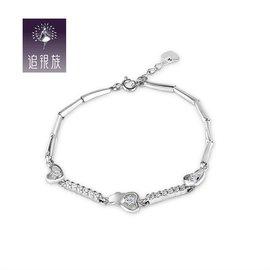 追銀族S925純銀手鏈女款微鑲鑽石甜美風 愛的心意百搭首飾包郵