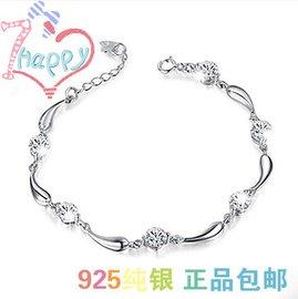 周大福925純銀手鏈小辣椒 鑽石手鏈 潮流 鏈扣女 海豚手鏈