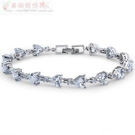 公爵山莊熙飾界稜角的愛透明純潔水滴瑞麗 3A鋯石正品鑽石手鏈