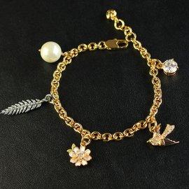 JC  飛燕珍珠花朵羽毛鑽石多掛墜手鏈