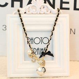 誇張黑色皮繩短款項鏈金屬邊大珍珠銅錢數字吊墜鎖骨鏈女飾品