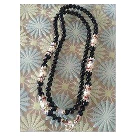 泰國佛牌項鍊 純天然黑瑪瑙 鎏銀琺瑯扣泰國佛牌 項鍊 毛衣鏈 頸飾品 F2389