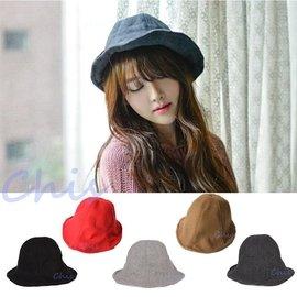 Chis Store~ 新品~韓國空運英倫學院復古風鐵絲鋼絲 純羊毛呢禮帽爵士帽漁夫帽盆帽