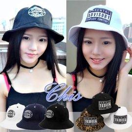 Chis Store~ADVISORY盆帽~韓國 圓形繡字圖騰 布標印花 漁夫帽 遮陽帽子