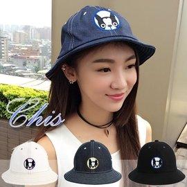 Chis Store~狗頭圖樣盆帽~春夏新品韓國刺繡俏皮小狗狗牛仔布質單寧可愛漁夫帽 遮陽