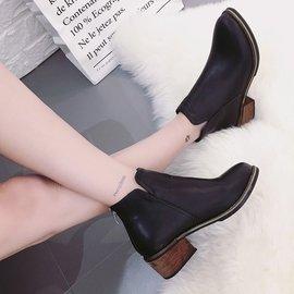 2016 春秋平底女短靴裸靴圓頭粗跟馬丁靴 平跟女靴短筒皮靴
