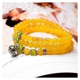 混合寶石鑲嵌 黃色玉髓多圈 手鏈詩蔓民族風  女未鑲嵌