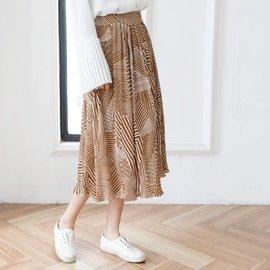北歐幾何條紋雪紡長裙