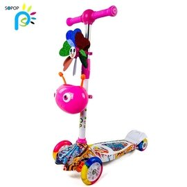 滑滑車四輪滑板車閃光sopop2~3~4~5~6~7~8~9~10~11兒童索普
