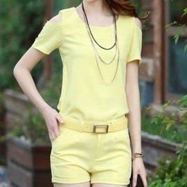 席派 2015  修身 露肩女恤短袖短褲 兩件 套裝 潮 16~8010 黃色
