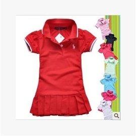 夏兒童寶寶短袖連衣裙 純棉百褶裙 POLO女童網球裙純色超短裙