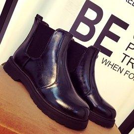 馬丁靴子圓頭短靴女黑色平底靴及裸靴切爾西靴英倫2016秋 女鞋