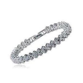 正品專櫃 1003232水晶鑽石羅馬手鏈閃亮鍍白金手鐲女中秋