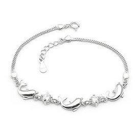正品925純銀鍍白金海豚手鏈 女  手鏈 送女友生日