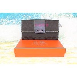 年底 COACH包 42181 帆布長皮夾 手拿零錢包 女錢夾 美國100%正品 附購買證
