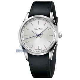 ~錶飾 ~CK手錶 bold系列 K5A311C6 藍指針 銀白面完美貼合黑皮帶男錶 正品